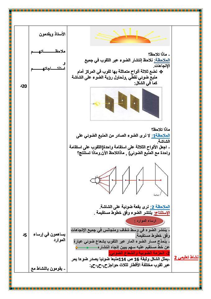♡ ☚ درس الانتشار المستقيم للضوء في فيزياء ☛ ♡ ◂للسنة الثالثة متوسط ▸ ♡ 149246645911