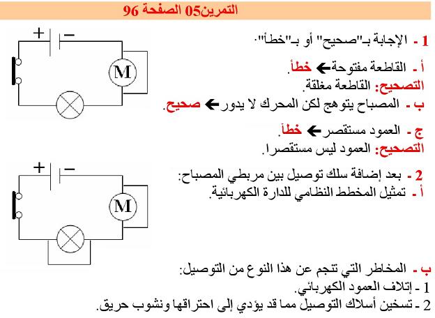 حل تمرين 5 ص 96 في الفيزياء - السنة الاولى متوسط ( الجيل الثاني )